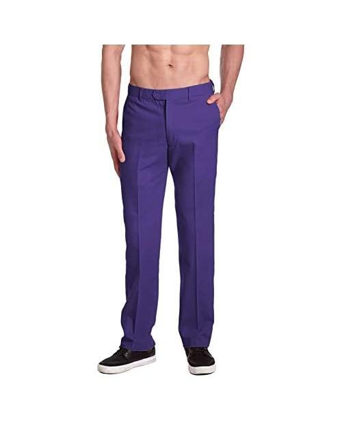 CONCITOR Brand Men's COTTON Dress Pants PURPLE INDIGO Flat Front Mens Trousers