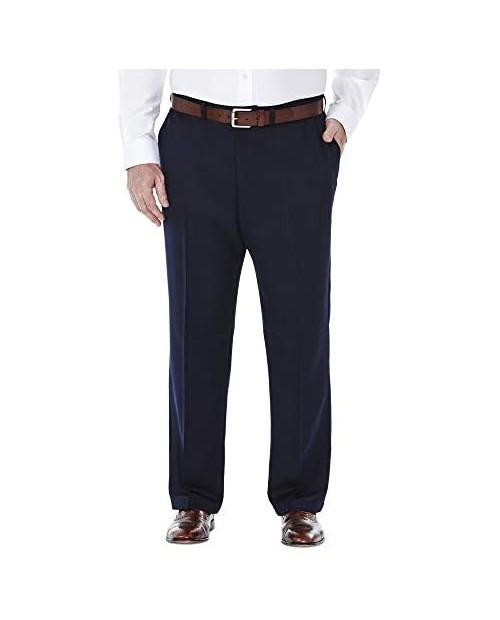 Haggar Men's Big and Tall Big & Tall Cool Gabardine Expandable-Waist Plain-Front Pant