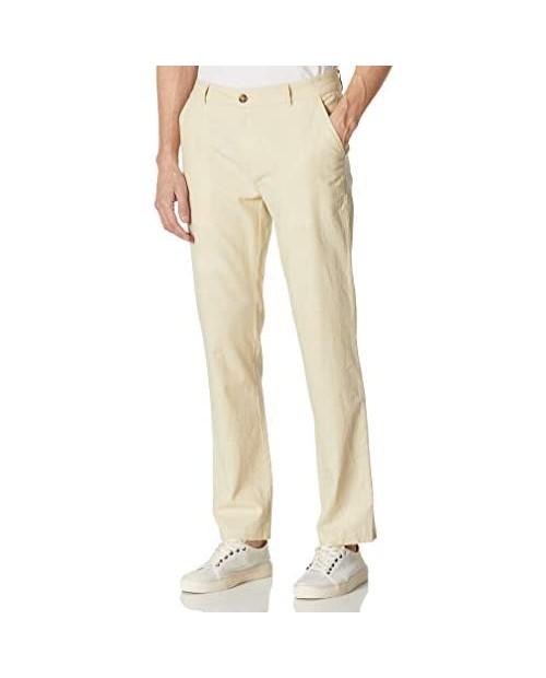 Isle Bay Linens Men's Linen Cotton Blend Breathable Waist Comfort Lightweight Dress Pants