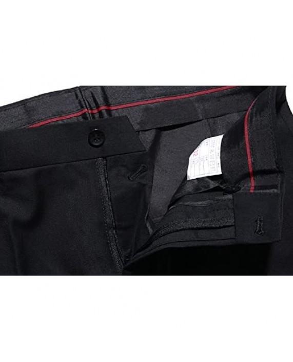 Kalanman Men's Dress Pants Stretch Slim Fit Wrinkle-Free Straight Leg Trousers Suit Pants