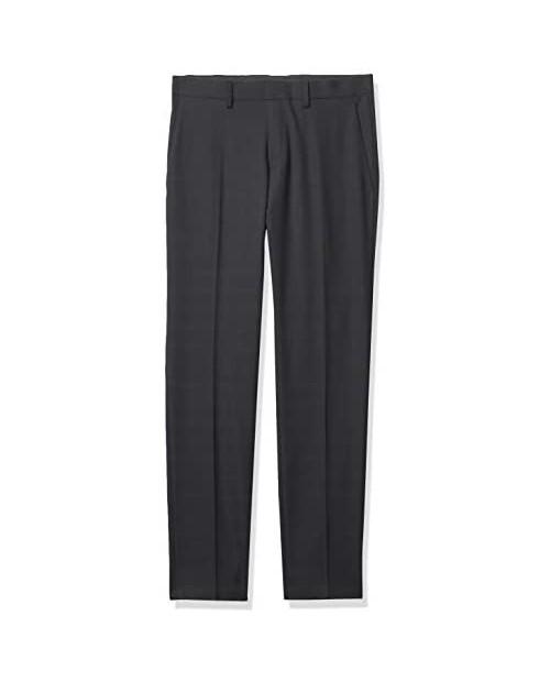 Kenneth Cole REACTION Men's Stretch Tonal Plaid Slim Fit Flat Front Flex Waistband Dress Pant