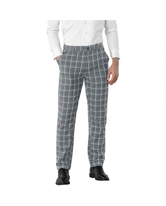 Lars Amadeus Men's Dress Plaid Pants Slim Fit Flat Front Check Chino Pants Trousers