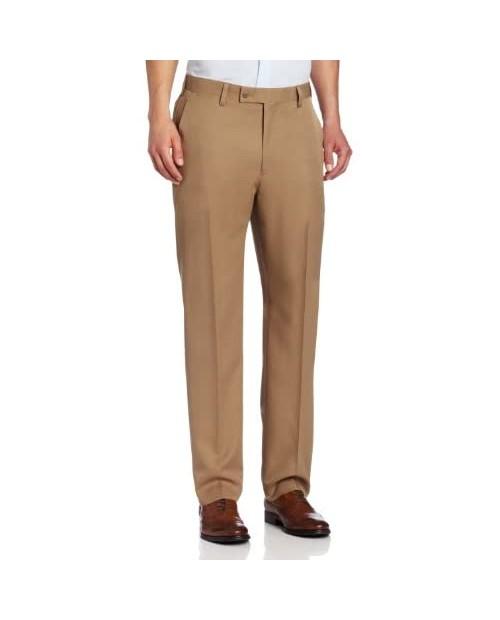 Louis Raphael Men's Modern Fit Flat Front Serge Weave Solid Dress Pant