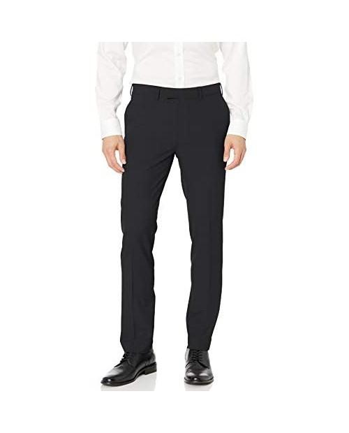 Louis Raphael Men's Slim Fit Flat Front Stretch Stria Solid Dress Pant