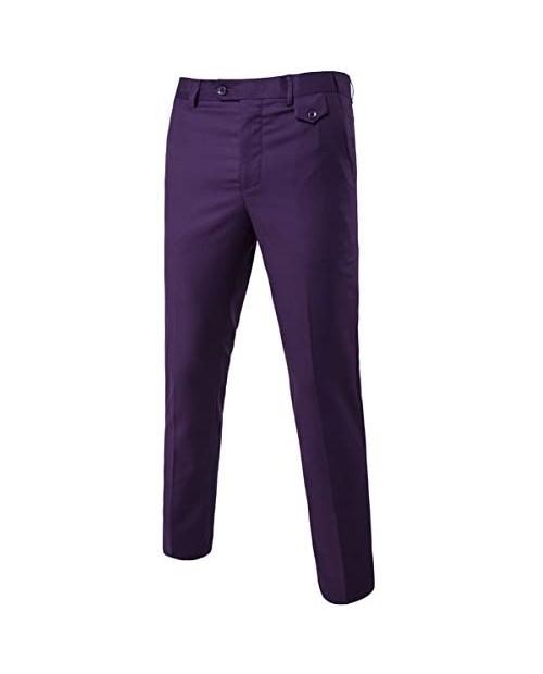 Mens Classic Slim Fit Fit Stretch Flat Front Slacks Dress Pants