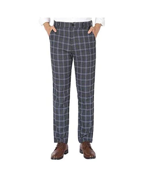 uxcell Men's Slim Fit Plaid Checks Pattern Dress Chino Pants Trousers