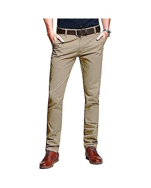 Alfiudad Men's Slim Fit Tapered Stretchy Casual Pants Chinos Work Pants
