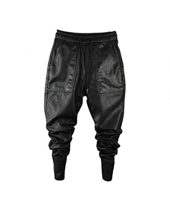 Idopy Men`s Faux Leather Jogger Elastic Waist Drawstring PU Harem Pants