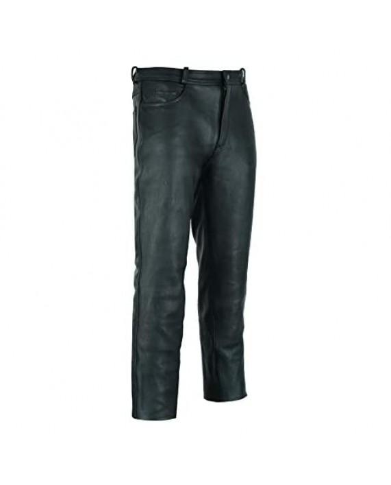 Ruja Mens Genuine Leather Black Pants
