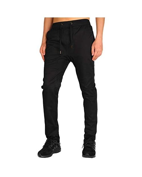 THE AWOKEN Men's Chino Pants Stretch Twill Jogger Without The Elastic Cuffs