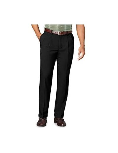 Van Heusen Men's Big & Tall Cuffed Crosshatch Pant Black 34W x 38L