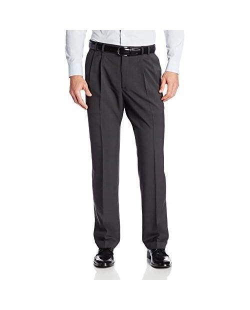 Van Heusen Men's Big & Tall Cuffed Crosshatch Pant Grey 58W x 32L