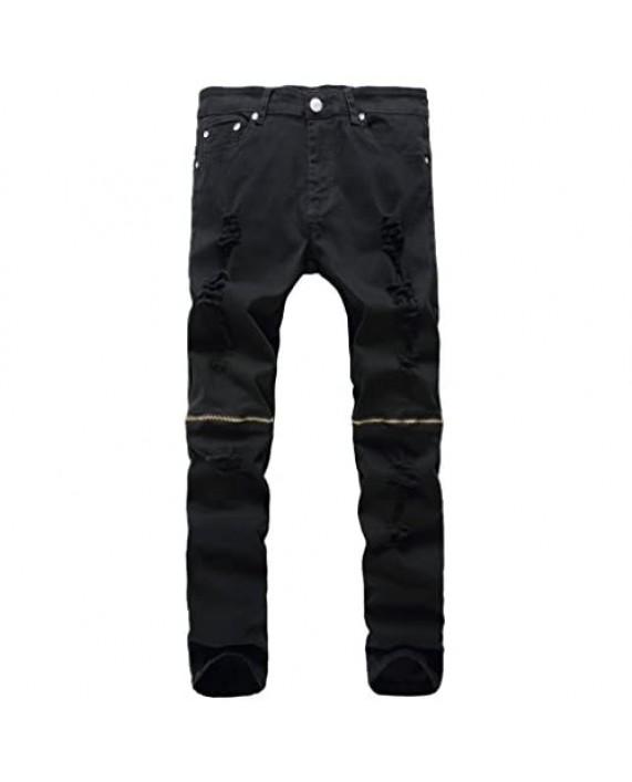 chouyatou Men's Classic Fit Ripped Performance Skinny Moto Biker Jeans-Zipper Deco