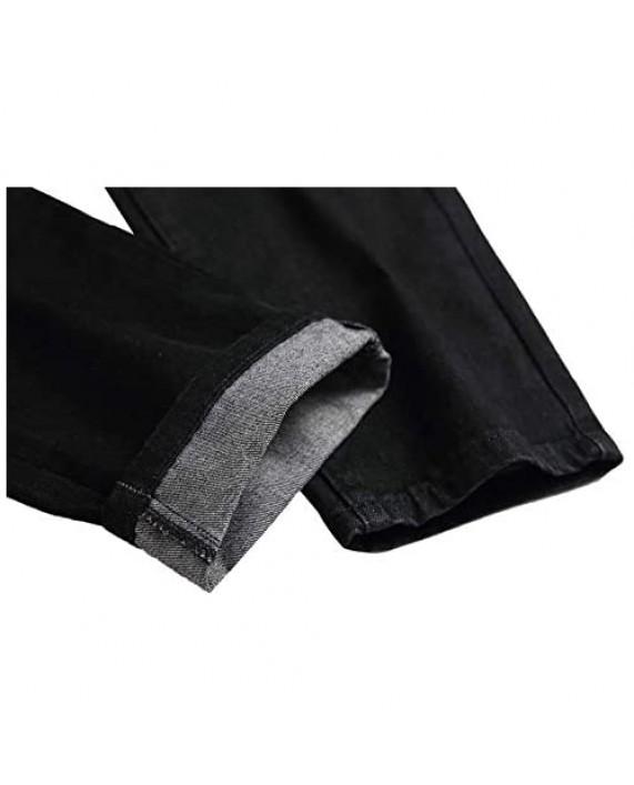 FEESON Men's Casual Regular Straight Leg Loose Fit Ripped Slim Fit Denim Jeans