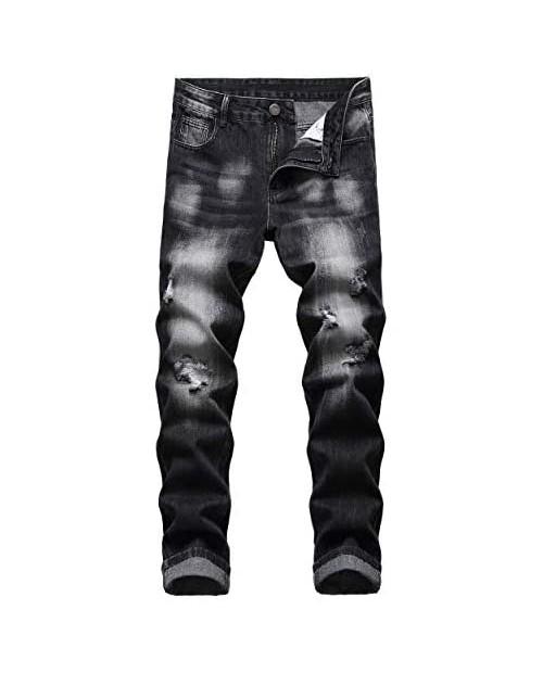 I5KZ Men's Ripped Slim Fit Jeans Straight Leg Distressed Patch Denim Pants