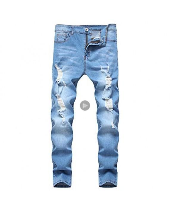 LONGBIDA Men's Ripped Destroyed Stretchy Knee Holes Slim Tapered Leg Jeans Denim Pants