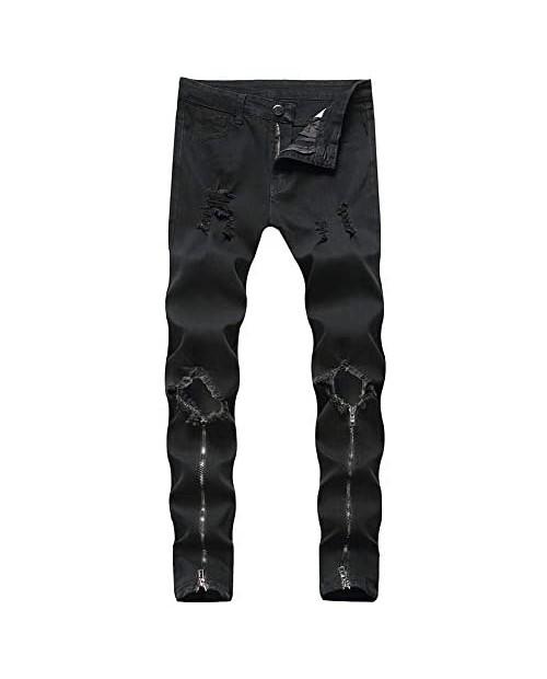 LONGBIDA Men's Ripped Skinny Biker Jeans Slim Fit Distressed Destroyed Pants with Zipper