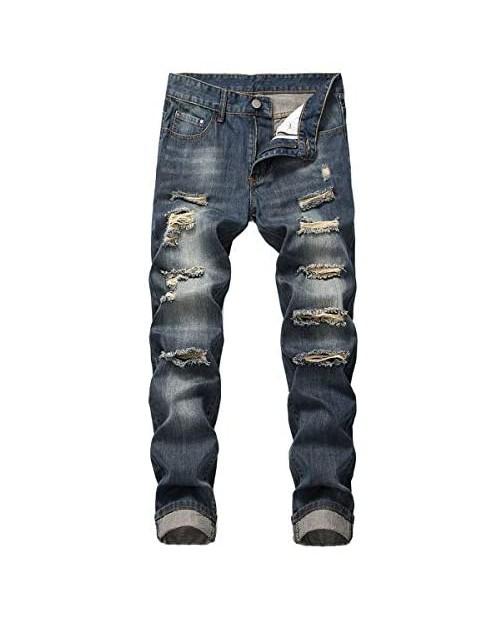 Mens Ripped Biker Washed Jeans Skinny Fit Distressed Holes Moto Denim Pants