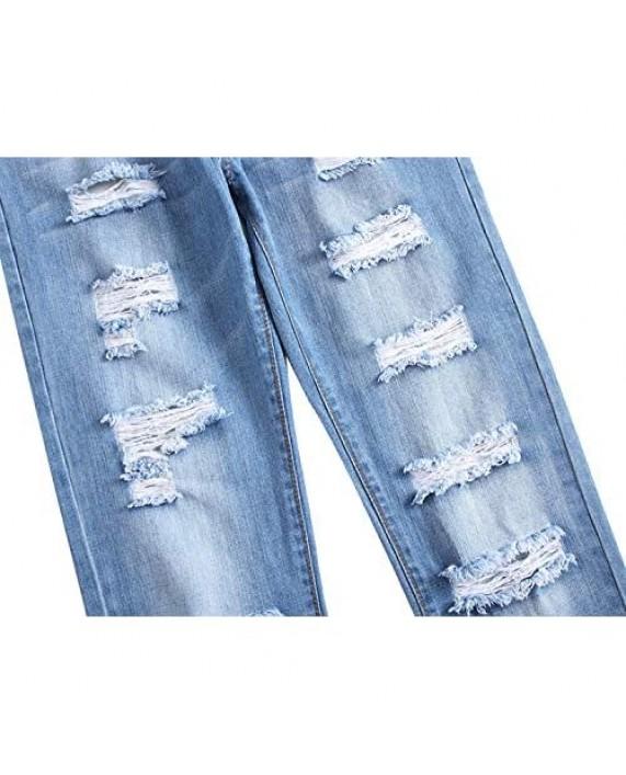 Men's Ripped Distressed Destroyed Slim Fit Straight Leg Denim Jeans