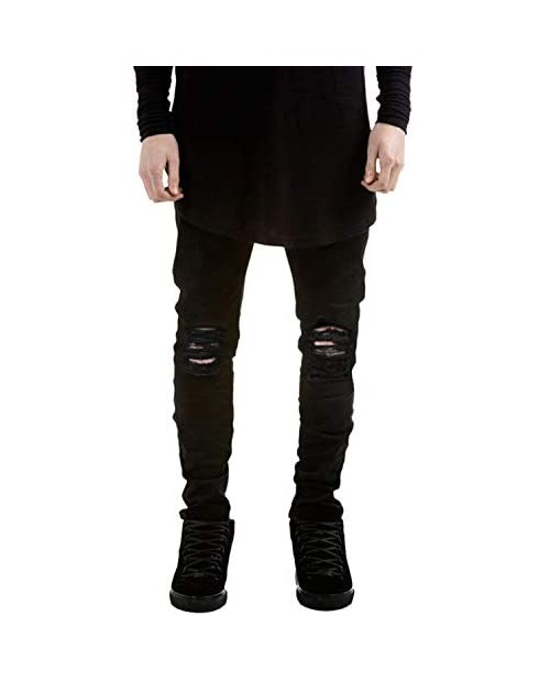 Previn Men's Ripped Jeans Stretch Distressed Destroyed Tapered Leg Skinny Demin Pants