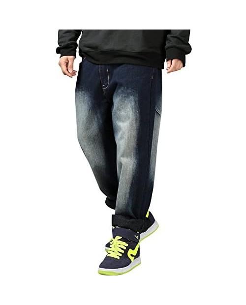 Yeokou Men's Loose Baggy Hip Hop Wash Denim Pants Straight Leg Jeans