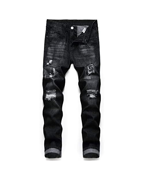 ZEESEN Ripped Jeans for Men Denim Slim Fit Straight Leg Distressed Destroyed Pants Mens Jeans with Hole