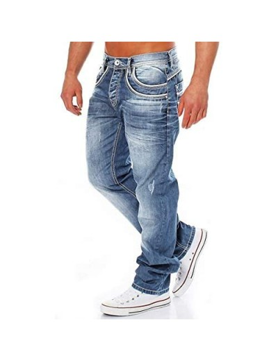 ZIWOCH Mens Jeans Relaxed Fit Blue Stretch Jeans Washed Destroyed Denim Baggy Straight Trousers