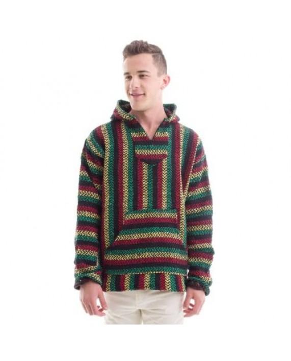 Baja Joe Striped Rasta Hoodie Woven Eco-Friendly Pullover