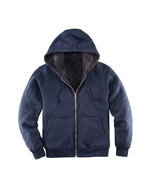 Men's Heavyweight Hooded Fleece Sweatshirt Sherpa Lined Full Zip Hoodie Sweater Jackets