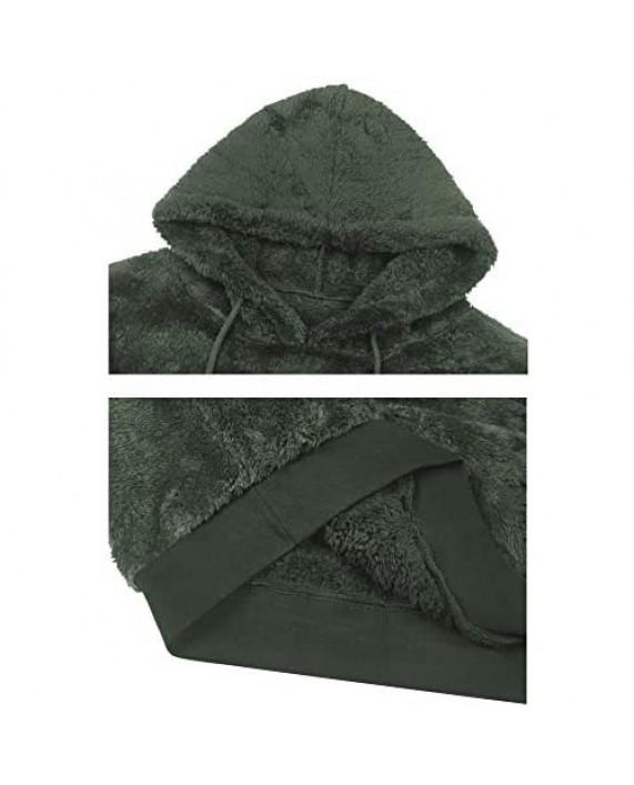 Men's Pullover Hoodies Casual Double Fuzzy Pile Fleece Sweatshirt Outwear S-XXL