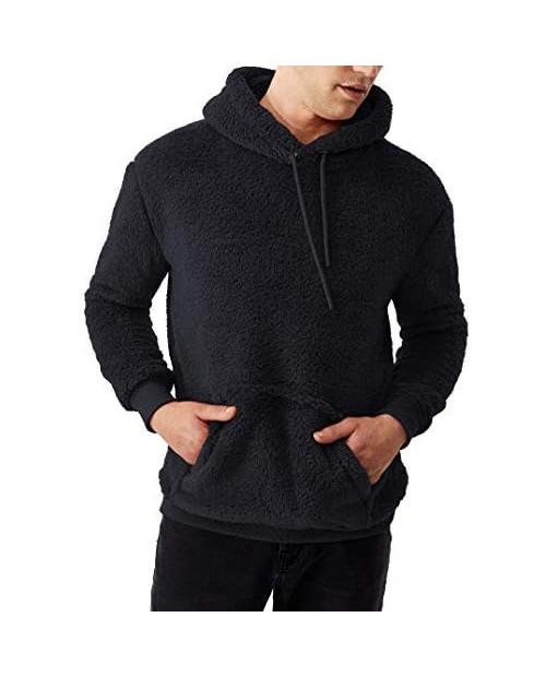 Mens Sherpa Pullover Hoodie - Adult Soft Plush Teddy Long Sleeve Fuzzy Hooded Teddy Bear Sweatshirt for Women