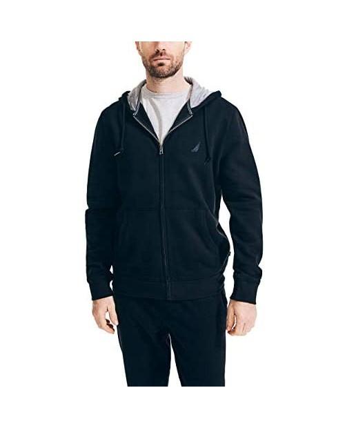 Nautica Men's Long Sleeve Sueded Fleece Full Zip Hoodie Sweatshirt