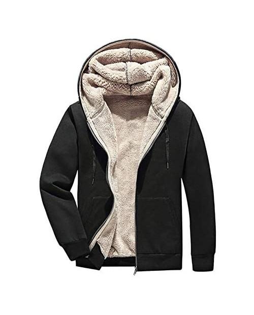 PEHMEA Men's Warm Thicken Fleece Hoodie Sherpa Lined Full-Zip Sweatshirt Jackets