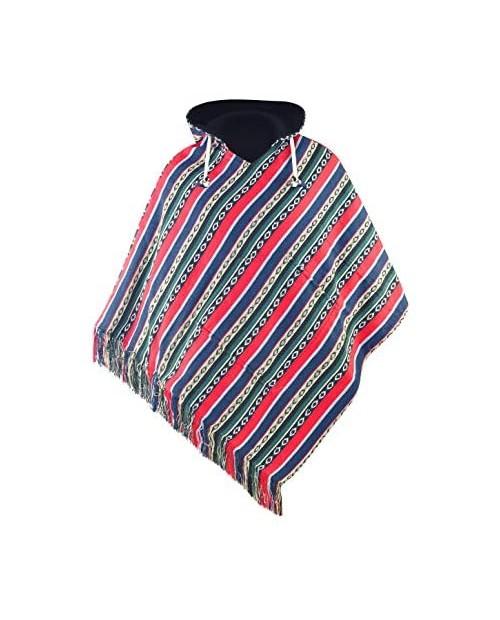 virblatt - poncho men | cotton & polar fleece | Baja hoodie mens traditional poncho jerga pancho- Adelante L-XL red