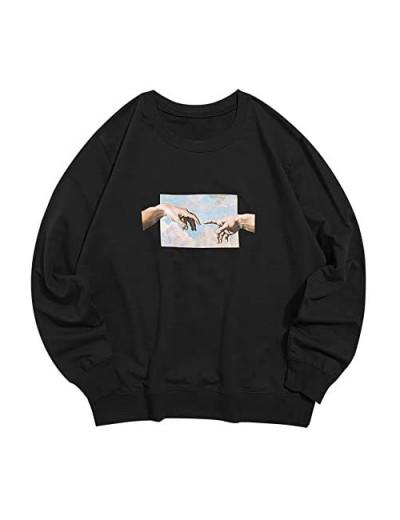 ZAFUL Men's Helping Hands Graphic Print Front Pocket Pullover Drawstring Hoodie Sweatshirt