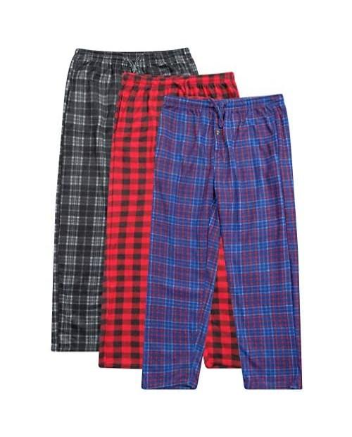 3 Pack: Mens Pajama Pants – Mens Fleece Plaid Lounge Pajama Bottoms