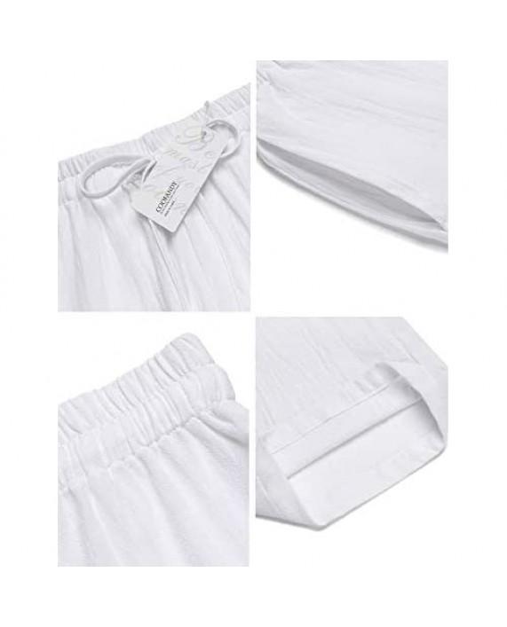 COOFANDY Men's Linen Casual Pants Elastic Waist Drawstring Beach Yoga Trousers