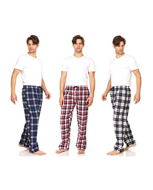 DARESAY Men's Cotton Super-Soft Flannel Plaid Pajama Pants/Lounge Bottoms with Pockets