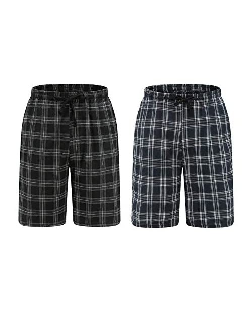 Go Mai Men's Sleepwear Shorts Pajama Bottom Lounge Short Plaid Button Open Fly 2Pack