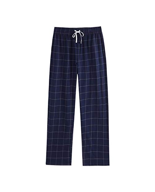 Vulcanodon Mens Cotton Pajama Pants Lightweight Sleep Pants with Pockets Soft Lounge Pajama Pants for Men Plaid Pj Bottoms