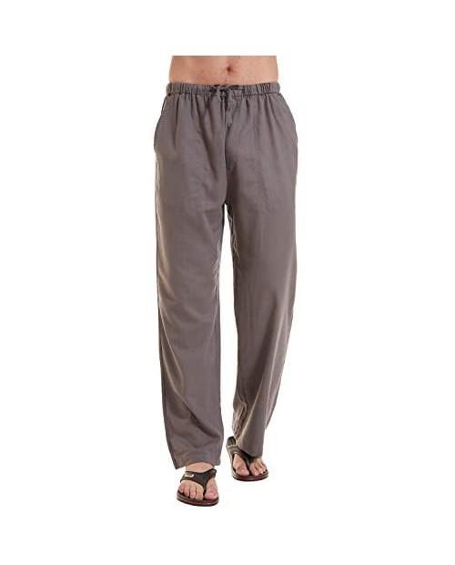 YuKaiChen Men's Linen Cotton Yoga Pants Casual Loose Sweatpants Beach Trousers Lounge Pants