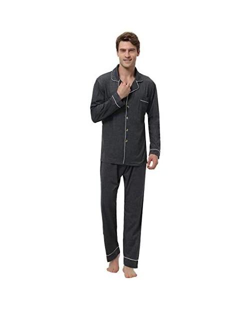Abollria Men's Cotton Pajama Set Long Sleeve Sleepwear Button Down Lounge Set