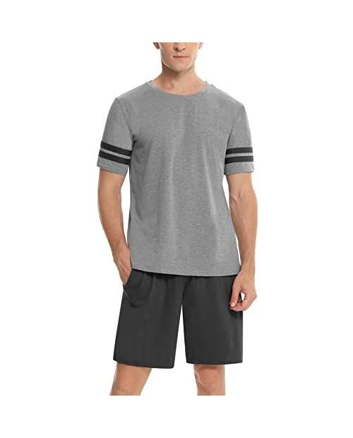 Abollria Men's Pajama Set Sleepwear Cotton Short Sleeve Top with Pajama Bottom Pjs Lounge