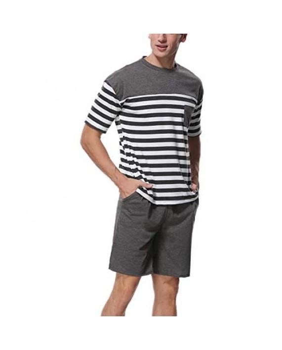 Abollria Men's Sleepwear Comfy Striped Top with Pajama Bottom Soft Loose Short Shorts Pajama Sets