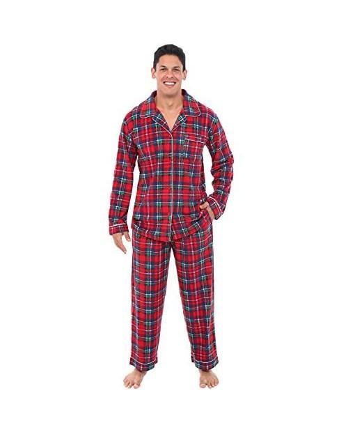 Alexander Del Rossa Mens Fleece Pajamas Long Button-Down Pj Set