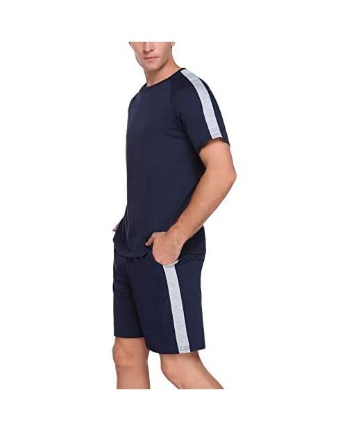 Doaraha Men's Pajama Set Summer Short Sleeves and Shorts Nightwear Classic Sleepwear Lounge Set with Pockets S-XXL