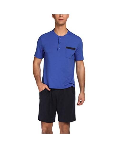 Ekouaer Sleepwear Men's Pajamas Set Long/Short Sleeve PJs Soft Cotton Lounge Sets S-XXL