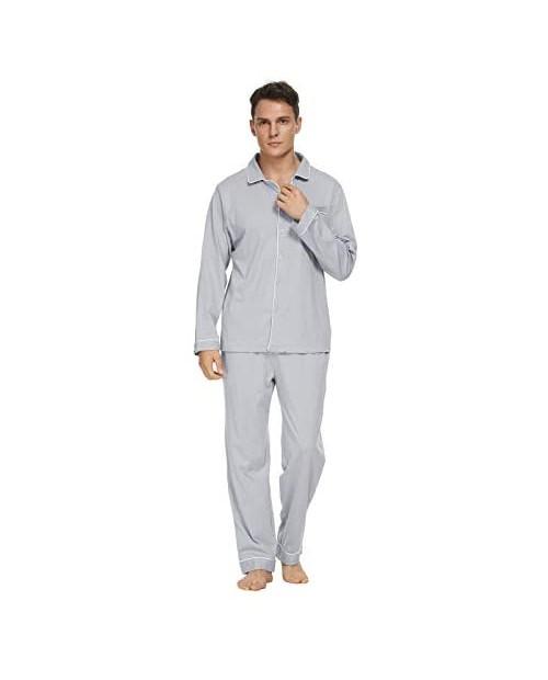 GOSO Mens Pajama Set 100% Cotton Long Sleeve Top & Bottom Sleepwear Lounge Set