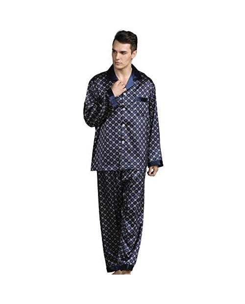 Haseil Men's Satin Pajama Set Silk Classic Long Sleeve Button Down Luxury Sleepwear Loungewear Pjs