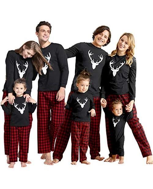 IFFEI Matching Family Pajamas Sets Christmas PJ's with Deer Long Sleeve Tee and Plaid Pants Loungewear